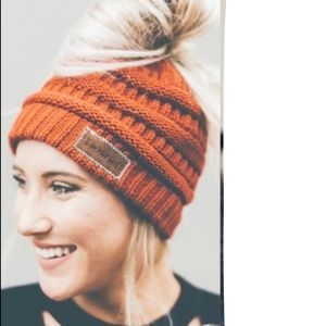 FALL ORANGE Messy Bun Ponytail Knit Beanie Hat